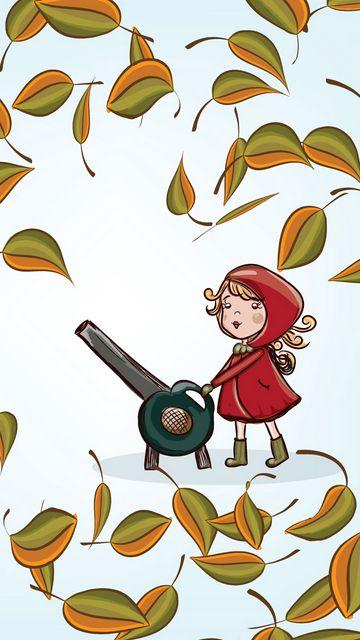 360x640 Обои девочка, листья, осень, вектор