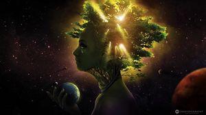 Превью обои девушка, лицо, дерево, шар, космос