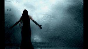 Превью обои девушка, мрак, дождь, ворон
