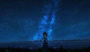 Превью обои девушка, ночь, звездное небо, аниме
