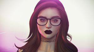 Превью обои девушка, пирсинг, очки, лицо, арт