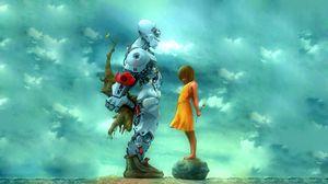 Превью обои девушка, робот, цветы, подарок