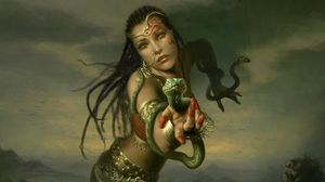 Превью обои девушка, рука, змеи, косички, украшения