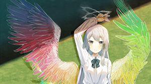 Превью обои девушка, школьница, доска, крылья, аниме, арт