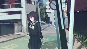 Превью обои девушка, школьница, улица, аниме