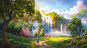 Превью обои девушка, собака, водопад, пейзаж, арт