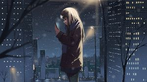Превью обои девушка, телефон, снег, зима, аниме