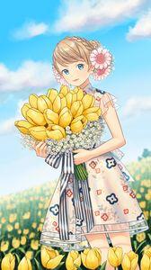 Превью обои девушка, тюльпаны, цветы, букет, поле, аниме