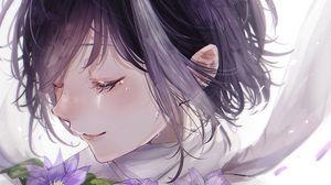 Превью обои девушка, цветы, слезы, грусть, аниме, арт