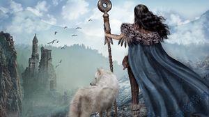 Превью обои девушка, воин, волк, горы, развалины
