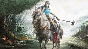 Превью обои девушка, воительница, лошадь, оружие, дорога, деревья