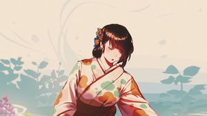 Превью обои девушка, взгляд, кимоно, аниме, арт, япония
