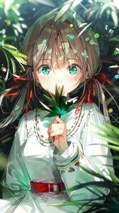 Превью обои девушка, взгляд, листья, лучи, аниме, арт