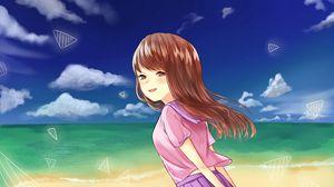 Превью обои девушка, взгляд, море, пляж, аниме