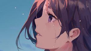 Превью обои девушка, взгляд, слезы, грусть, аниме, арт