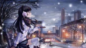 Превью обои девушка, зима, снежинка, лавочка, город, фонарь, холод, шарф, наушники