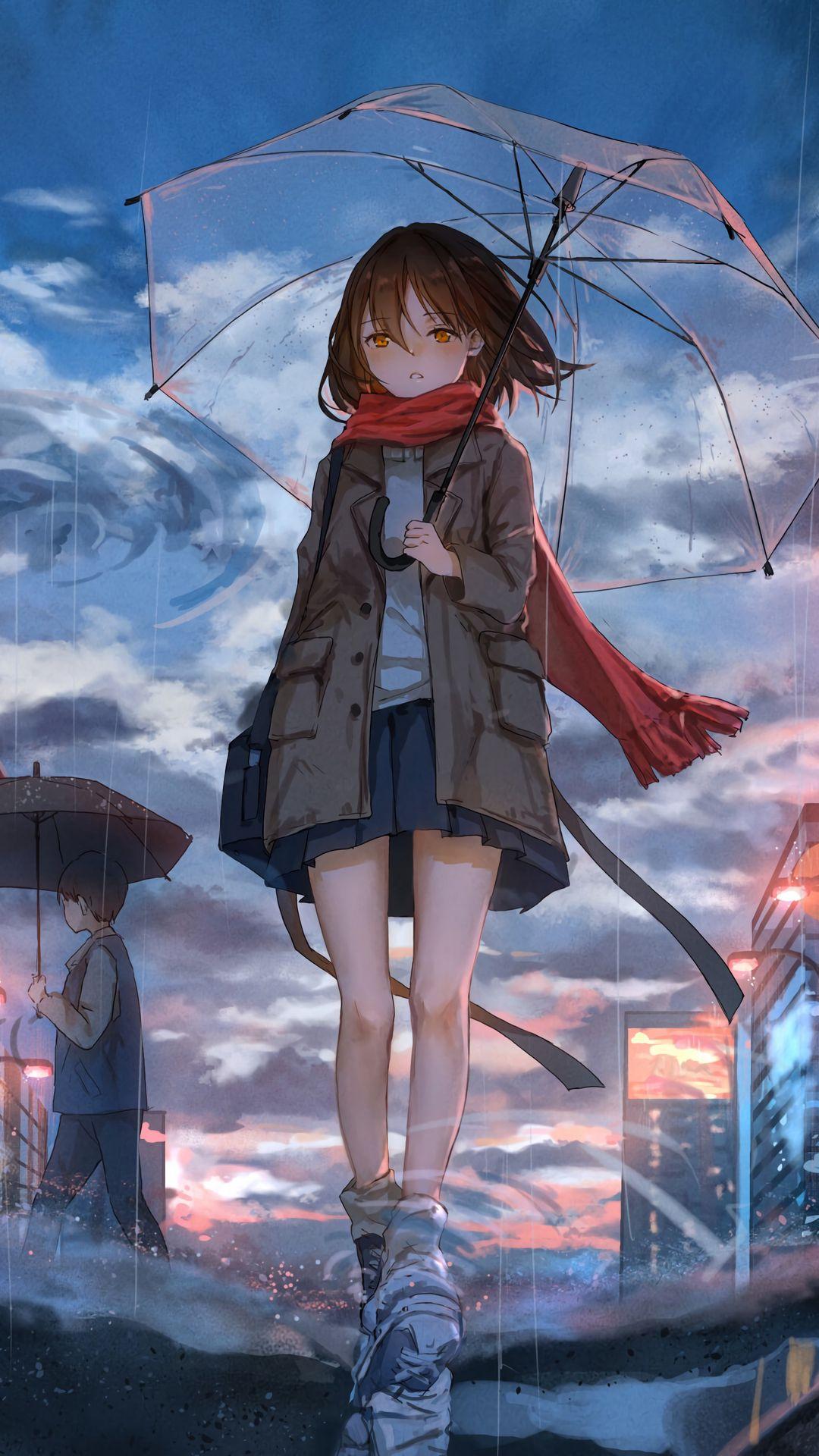 1080x1920 Обои девушка, зонт, аниме, дождь, грусть