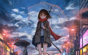 Превью обои девушка, зонт, аниме, дождь, грусть