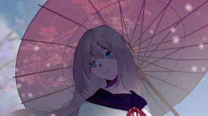 Превью обои девушка, зонтик, сакура, аниме