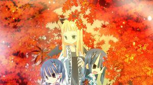 Превью обои девушки, кимоно, осень