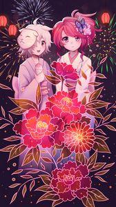 Превью обои девушки, цветы, фейерверк, аниме, арт