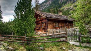 Превью обои дом, австрия, альпы, деревянный забор, пейзаж
