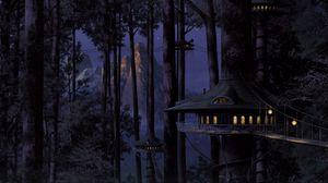 Превью обои дом, дерево, свет, лес, ночь