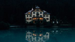 Превью обои дом, озеро, горы, лес, природа