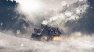 Превью обои дом, строение, фотошоп, метель, блики