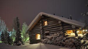 Превью обои дом, свет, окна, зима, сугробы, бревна