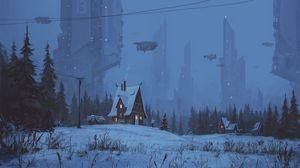 Превью обои домик, будущее, арт, ночь, зима