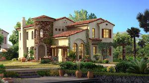 Превью обои домик, красиво, проект, стиль, зелень