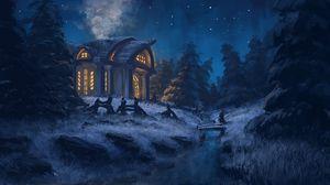 Превью обои домик, лес, арт, ночь, свет, деревья, трава