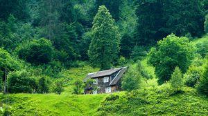 Превью обои домик, лес, лето, трава, уединение