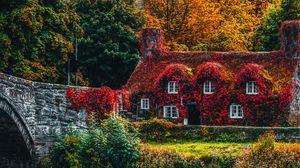 Превью обои домик, осень, река, листва, краски осени