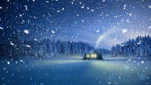 Превью обои домик, снегопад, снег, сказочный, волшебный