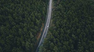 Превью обои дорога, деревья, вид сверху