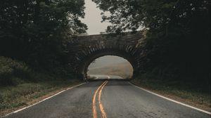 Превью обои дорога, мост, арка, асфальт, поворот