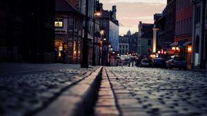 Превью обои дорога, ночь, свет