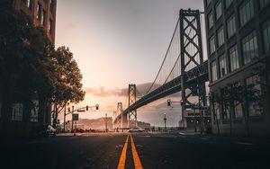 Превью обои дорога, разметка, мост, здания, сан-франциско, сша
