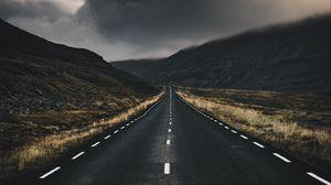Превью обои дорога, разметка, облака, поворот