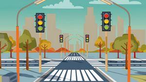 Превью обои дорога, разметка, светофоры