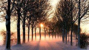 Превью обои дорога, снег, зима