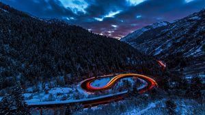 Превью обои дорога, свет, небо, лес, горы, снег
