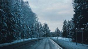 Превью обои дорога, зима, деревья, поворот