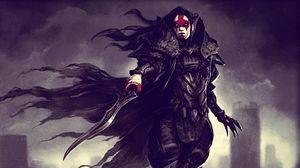 Превью обои доспехи, воин, клинок, кровь, вампир