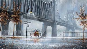 Превью обои дождь, деревья, фонари, улица, скамья, двое, пара, зонт