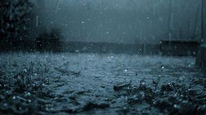 Превью обои дождь, капли, брызги, ливень, серость, непогода
