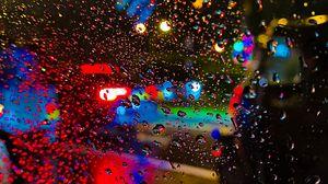 Превью обои дождь, капли, стекло, размытость, огни