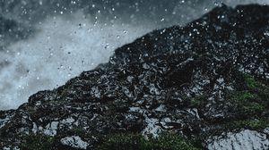 Превью обои дождь, капли, земля, трава, мох